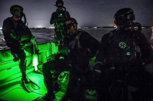 US Navy Seal Team conduct military dive operations